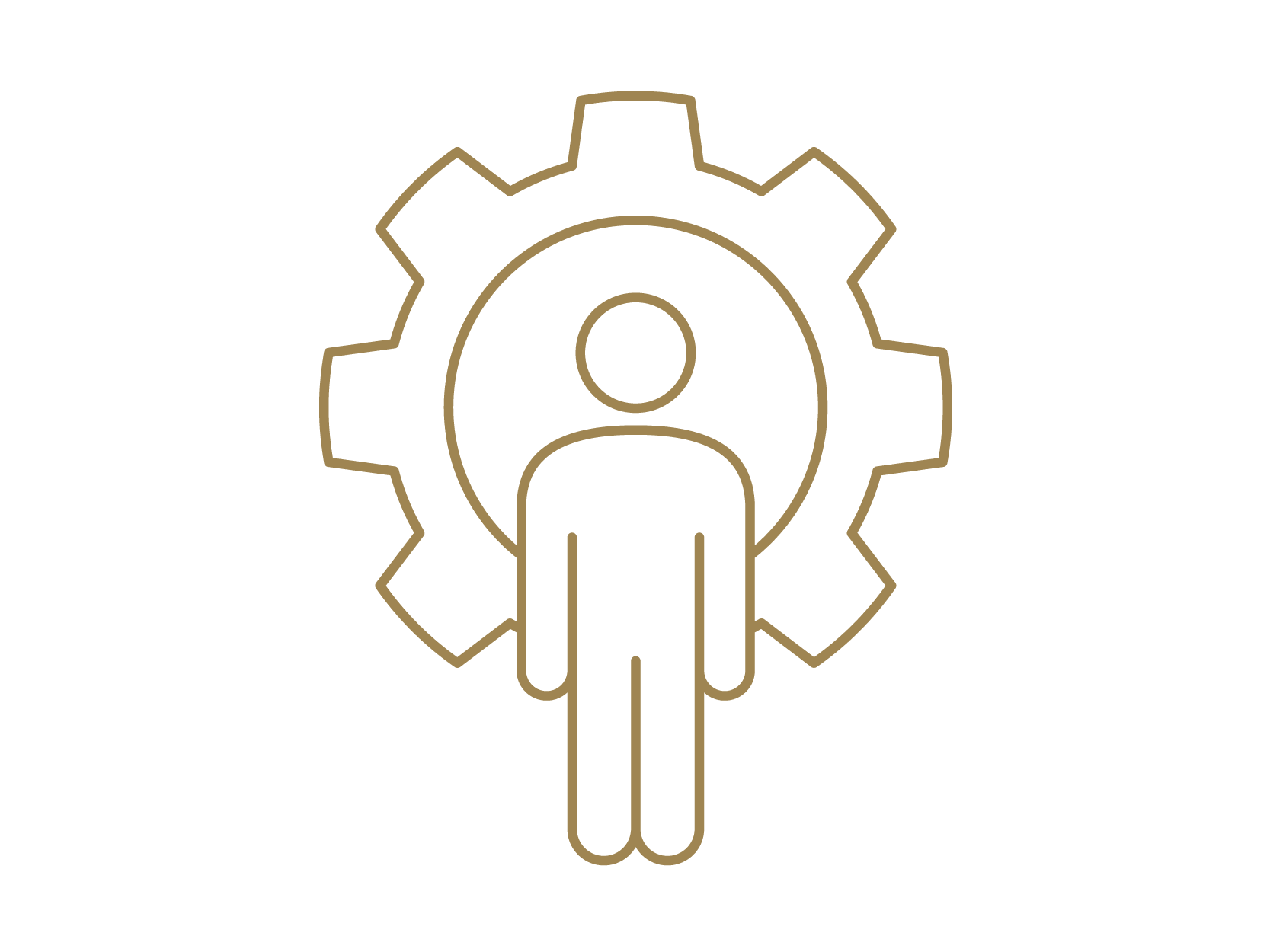 Icon of a person standing in front of a gear