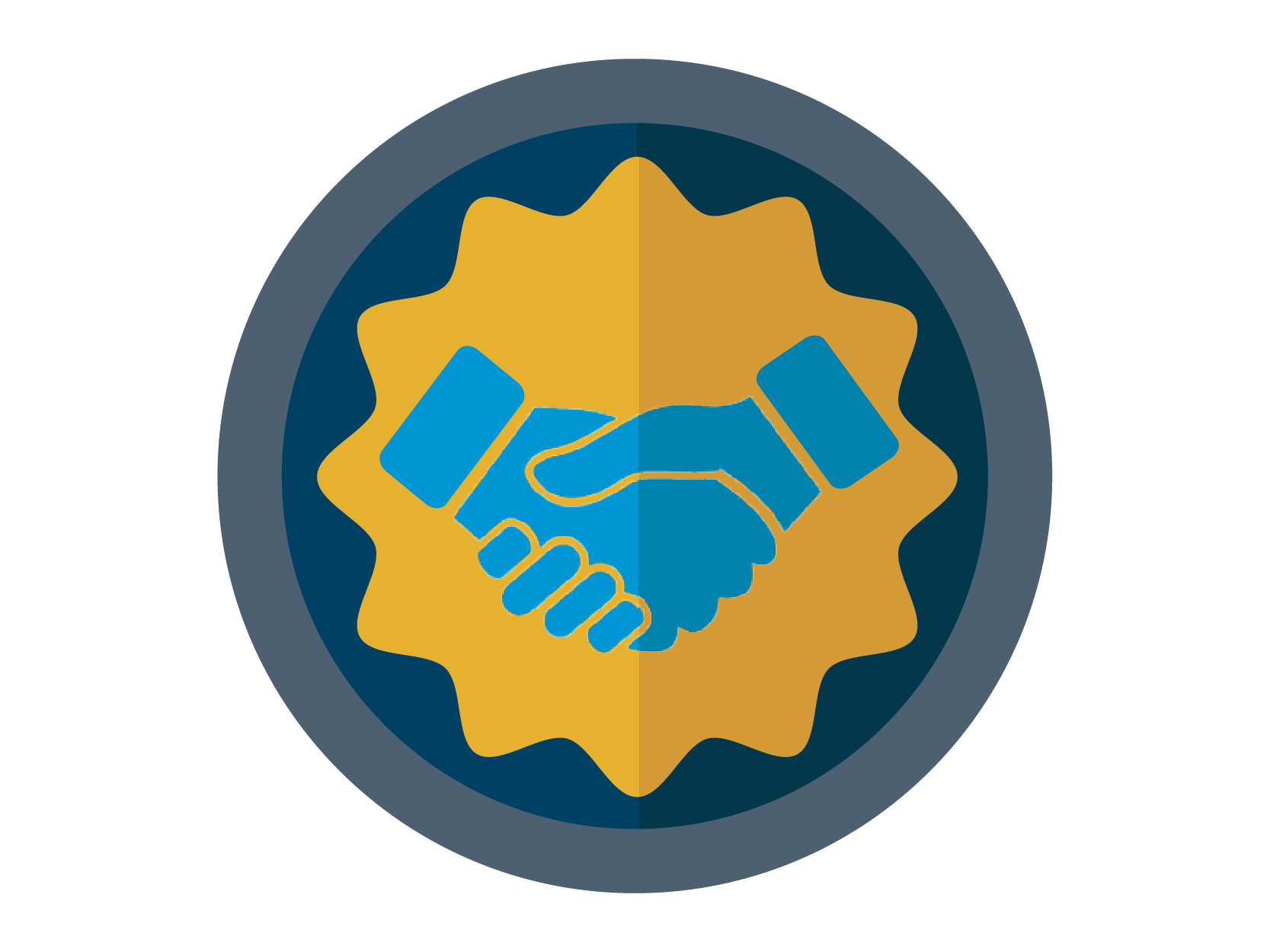 HRMD Excellence Initiative Icon: A badge with a handshake