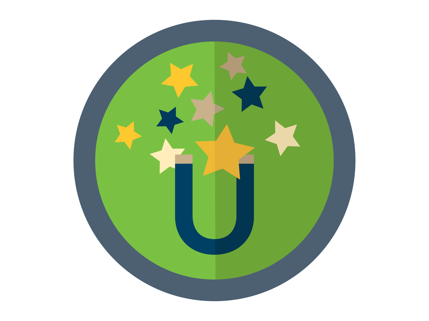 Talent Attraction Initiative Icon: A magnet with stars attracted to it
