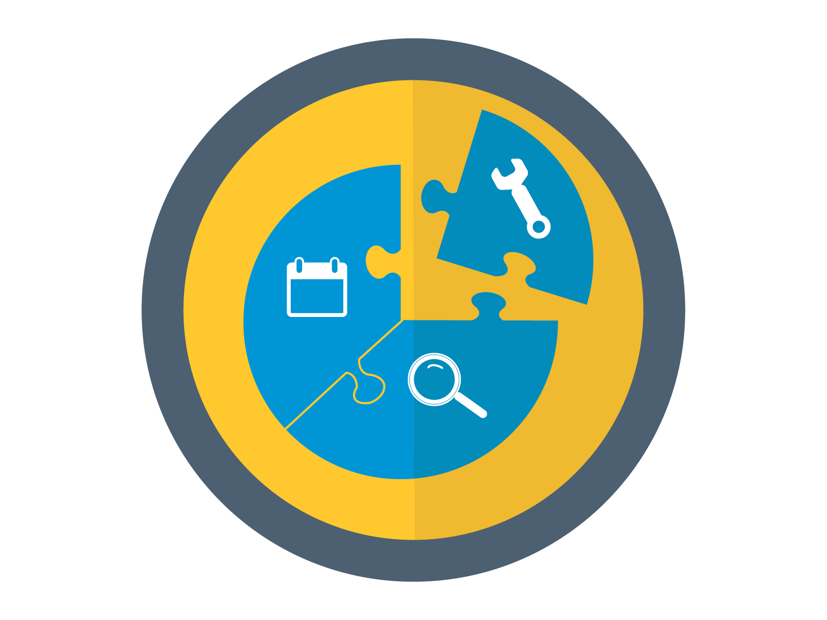 Efficiency and Effectiveness Initiative Icon: A circle with a set of puzzle pieces coming together