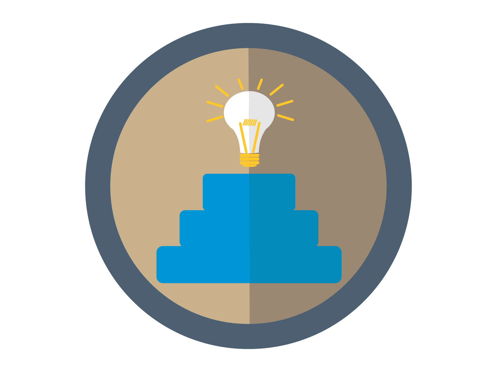 Talent Management Initiative Icon: A light bulb at the top of stairs