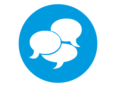 A blue circle with speech bubbles in conversation