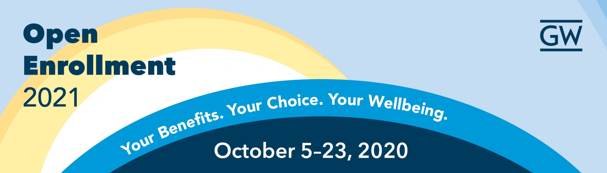 blue background with sun and text that says Open Enrollment Dates October 5 through 23
