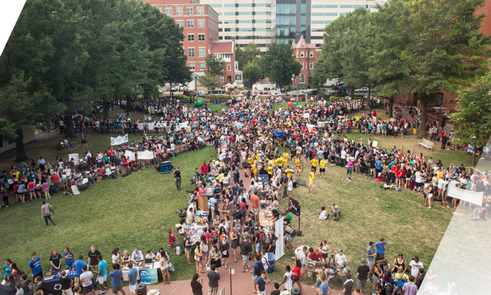 Crowd of people around campus