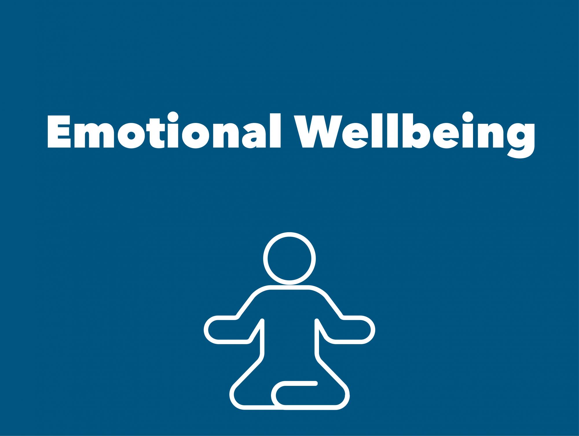 Blue box with person in yoga position. Text says Emotional Health