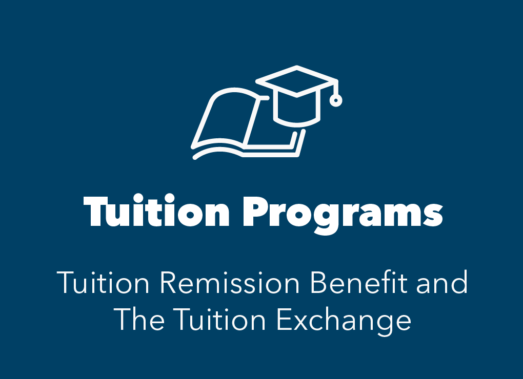 Blue box with white icon of tuition cap. Text reads tuition programs. Learn about tuition remission and tuition exchange.