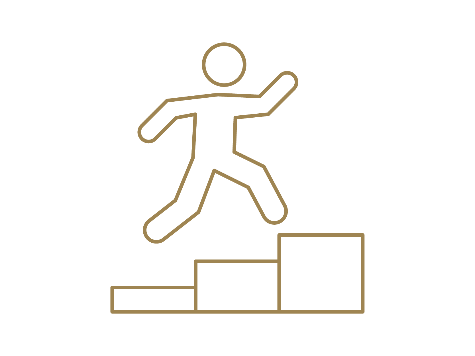 Icon of a person running up stairs