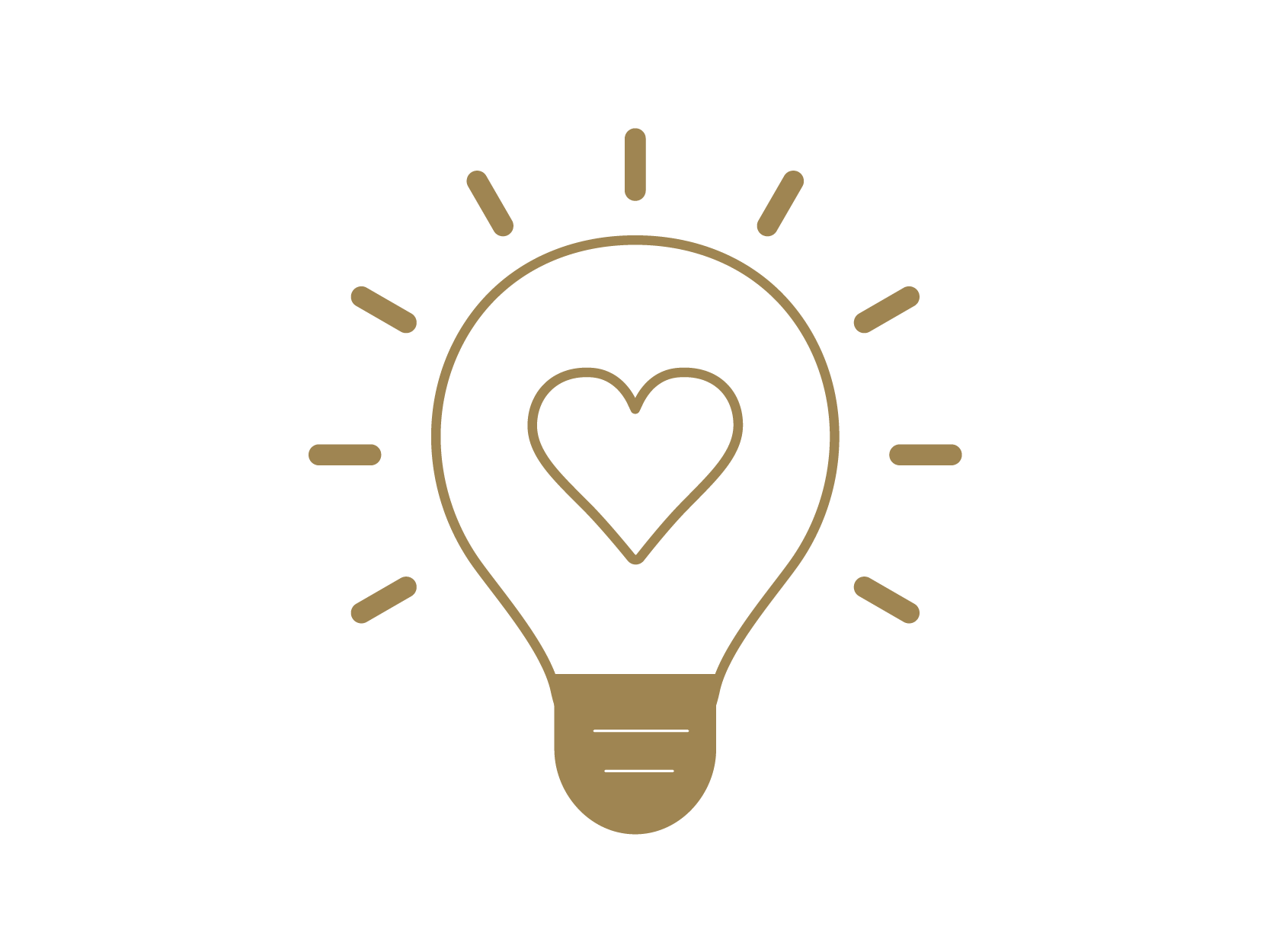 Icon of a light bulb with a heart inside