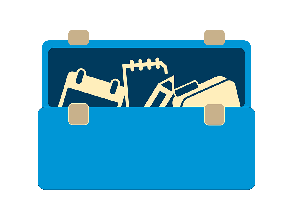 Graphic of suitcase with tools