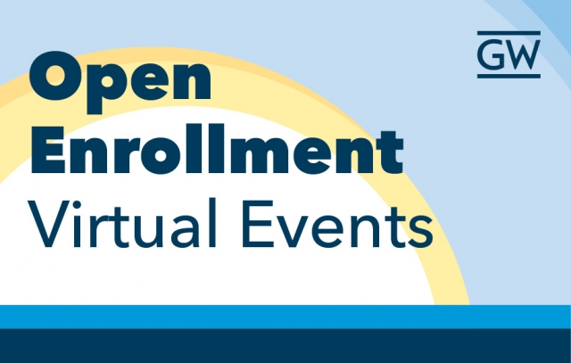 Sun with blue sky and text open enrollment virtual events