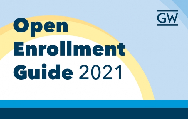 Sun and blue sky with text Open Enrollment Guide 2021